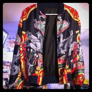Vintage multicolor chariot abstract silk jacket